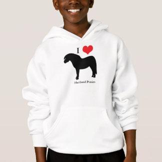 I love heart shetland ponies kids sweatshirt