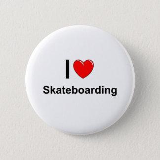 I Love Heart Skateboarding 2 Inch Round Button