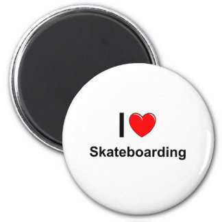 I Love Heart Skateboarding Magnet