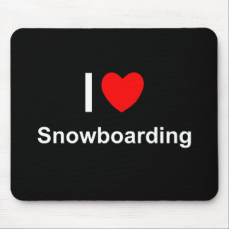 I Love Heart Snowboarding Mouse Pad