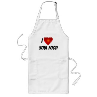 I Love Heart Soul Food Long Apron