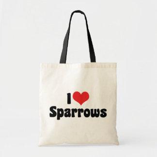 I Love Heart Sparrows - Bird Lover Tote Bag