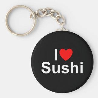 I Love (Heart) Sushi Basic Round Button Keychain