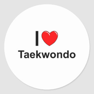 I Love Heart Taekwondo Classic Round Sticker
