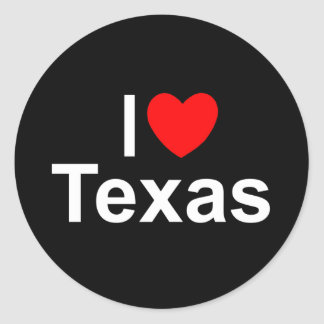 I Love (Heart) Texas Round Sticker