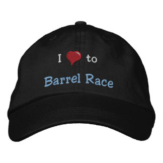 I love (heart) to Barrel Race Embroidered Hat