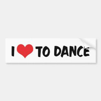 I Love Heart To Dance - Ballet Tango Waltz Lover Bumper Sticker