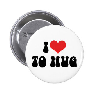 I Love Heart To Hug - Free Hugs 2 Inch Round Button