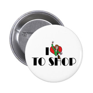 I Love Heart To Shop - Shopping Mall Lover 2 Inch Round Button