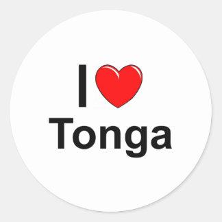 I Love heart Tonga Classic Round Sticker