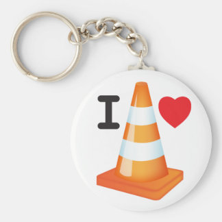I Love Heart Traffic Cones Road Markers Roadworks Basic Round Button Keychain