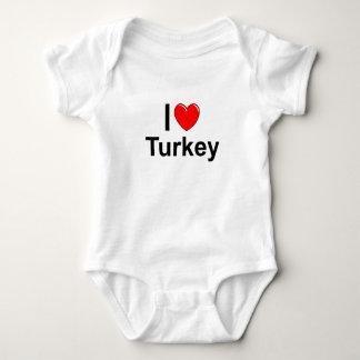 I Love Heart Turkey Baby Bodysuit