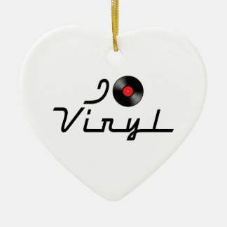 I Love Heart Vinyl - DJ Record Album Lover Ceramic Ornament