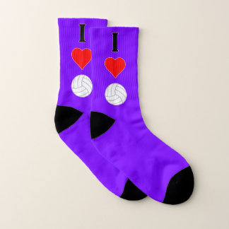I Love (Heart) Volleyball Any Team Color Player's Socks