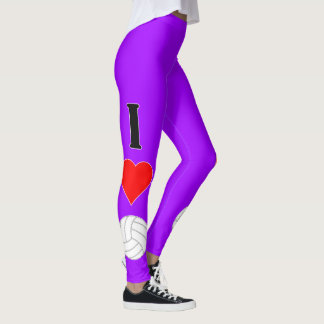 I Love (Heart) Volleyball Custom Color Leggings