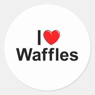 I Love (Heart) Waffles Classic Round Sticker