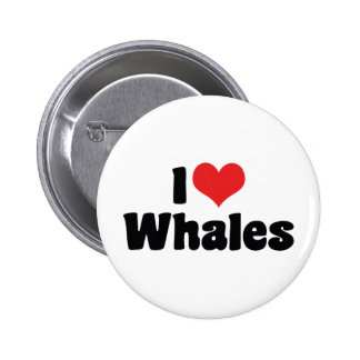 I Love Heart Whales 2 Inch Round Button