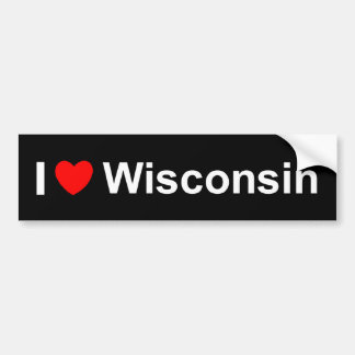 I Love (Heart) Wisconsin Bumper Sticker