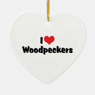 I Love Heart Woodpeckers - Bird Lover Ceramic Ornament