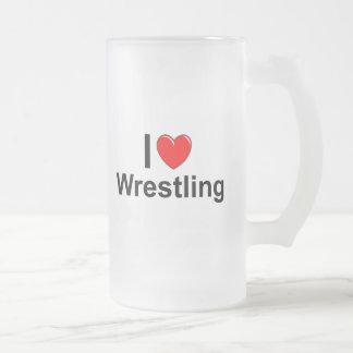 I Love Heart Wrestling Frosted Glass Beer Mug