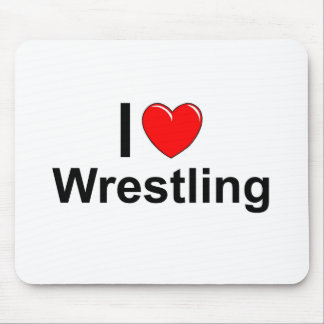I Love Heart Wrestling Mouse Pad