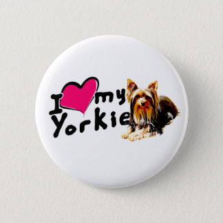I love (heart) Yorkies 2 Inch Round Button