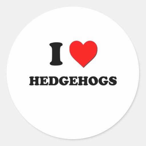 I Love Hedgehogs Round Sticker