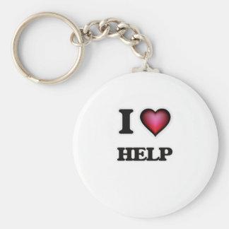 I love Help Basic Round Button Keychain