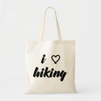 I Love Hiking Text Tote Bag