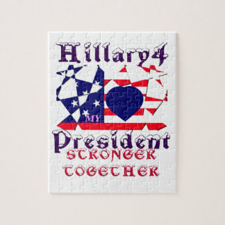 I love Hillary For USA President We are Stronger T Jigsaw Puzzle