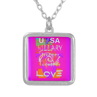 I Love Hillary USA President Stronger Together art Silver Plated Necklace