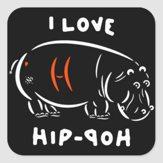 I love hip-hop (and hippos)! square sticker