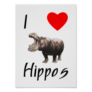 I Love Hippos (2) Poster