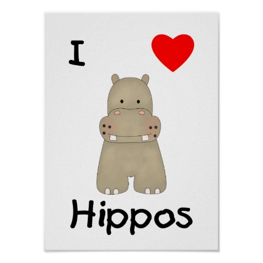 I Love Hippos (3) Poster