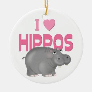I Love Hippos Ceramic Ornament
