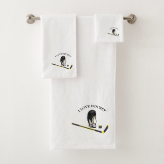 I Love hockey custom design with stick and helmet Bath Towel Set