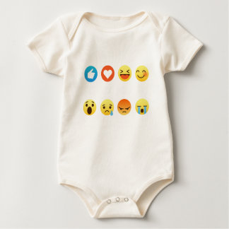I Love Hockey Emoticon (emoji) Social (white font) Baby Bodysuit