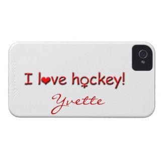 I Love Hockey!-Female Player Name iPhone 4 Case-Mate Case
