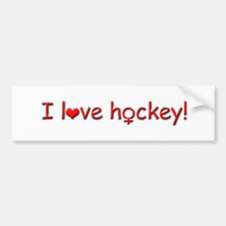 I love hockey!-Girls/Womens Sports Bumper Sticker