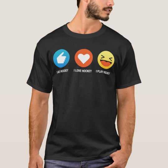 I Love Hockey Simple Emoji Emoticon Funny Tee