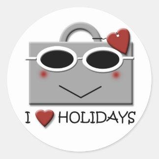 I love holidays classic round sticker
