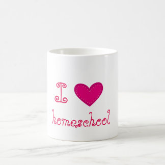 I love homeschool pink heart coffee mug