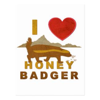 I LOVE HONEY BADGER POSTCARD