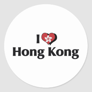 I Love Hong Kong Flag Classic Round Sticker