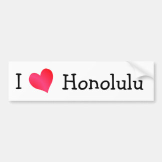 I Love Honolulu Bumper Sticker
