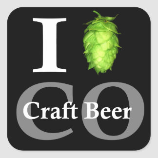 I love (hop) Colorado craft beer! Square Sticker