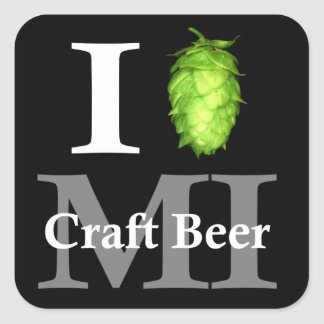 I love (hop) Michigan craft beer! Square Sticker