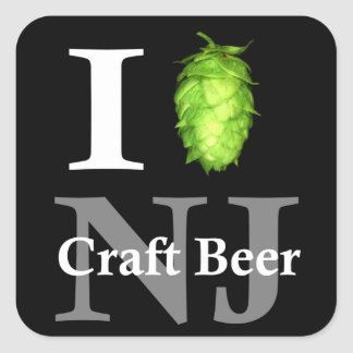 I love (hop) NJ craft beer Square Sticker