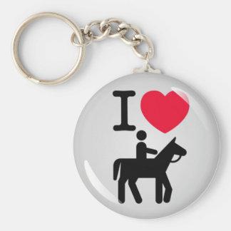 I love horseriding basic round button keychain