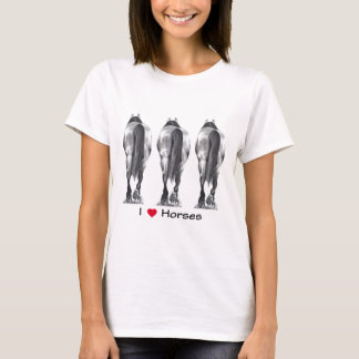 I Love Horses: Drawing of Three Horse Rear Ends T-Shirt